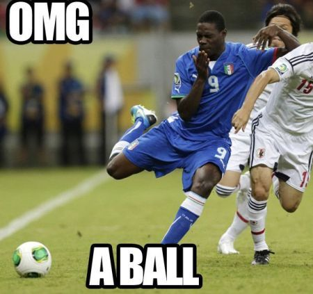 funny image of a footballer scared of a football